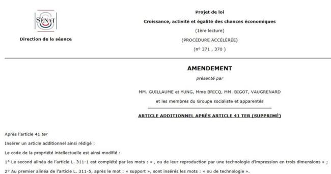 Un amendement pour taxer le Print3D .... bien vu l'aveugle !